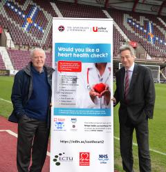 Jim Jefferies (left) & Professor David Newby (right) at Tynecastle stadium