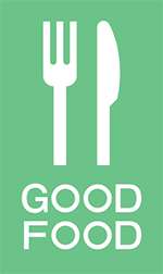 SRS Good Food green icon, knife and fork