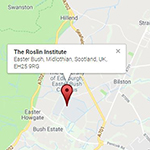 A screenshot of The Roslin Institute's location on a map.